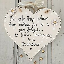 Personalised Thank You Godparents Godmother Godfather Heart Plaque Keepsake Gift