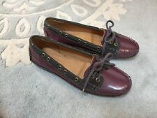 NEW Sebago Purple Pearlescent Gray Leather Boat Shoes Loafers 6