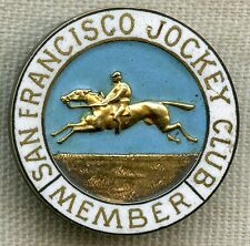 1890s San Francisco Jockey Club Member Lapel by Shreve Co. Named to R. Van Brant