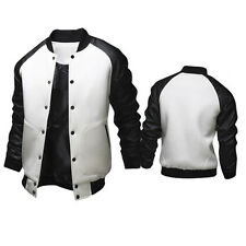 Mens Plain Varsity Baseball Jackets College Leather Sweatshirt Top Winter Coats