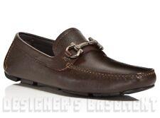 SALVATORE FERRAGAMO brown Pebbled 10D PARIGI BIT driving Moccasin shoes NIB Auth