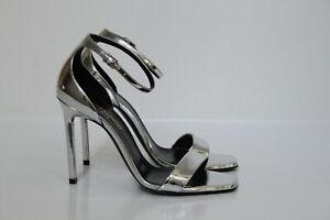 z 6.5 / 36.5 YSL Yves Saint Laurent Amber Silver Leather Platform Sandal Shoe