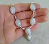 "NATURAL OVAL RAINBOW MOONSTONE 925 STERLING SILVER NECKLACE 22"" HANDMADE JEWELRY"