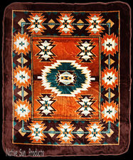 "Ultra Soft Plush Queen Blanket Southwestern Geometric Design 79x95"" #275 Brown"