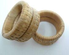 """2 Vintage Hand Made Bamboo Rings for Egg Holders Napkin Rings 2"""""""