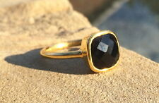 Black Onyx Square Gold Stackable Ring Faceted Vermeil Gold Ring Size 6