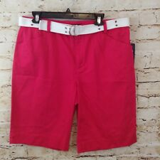 Chaps shorts womens 14 dark pink belted NEW geranium casual cotton J10