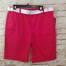 Chaps shorts womens 14 dark pink belted NEW geranium casual cotton J10