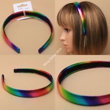 NEW 2cm METALIC LOOK RAINBOW FABRIC COVERED ALICE HEAD BAND ALICEBAND HEADBAND.