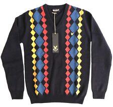 Lyle & Scott Medium Mens Argyle 100% Lambswool Sweater Pullover Jumper Navy Golf