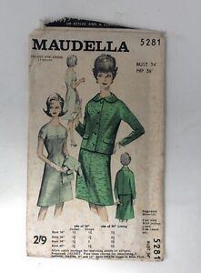 """Vintage 1950s-60s Maudella Ladies Pattern 5281 , Bust 34"""" Hip 36"""""""