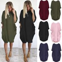 Womens Pocket Loose Dress Ladies Crew Neck Casual Long Tops Dress Plus Size US