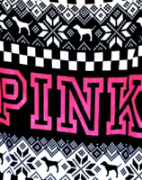 "Victoria's Secret PINK 2018 Logo Cozy Throw Blanket Pink Black White 50"" x 60"""