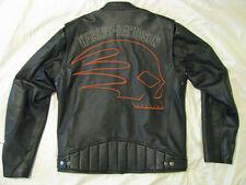 Harley Davidson Leather Motorcycle Jacket H-D Skull Cafe Racer Skuller Men L