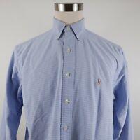 Polo Ralph Lauren Mens Oxford Yarmouth LS Button Down Light Blue Plaid Shirt 16
