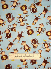 "South Sea Coconut Grove Monkey Banana Jungle Monkeys Toss Cotton Fabric~ 35"""