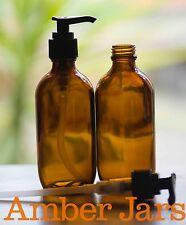 7 x 200ml Amber Glass Bottles / Lotion PUMP - SUPERIOR QUALITY PUMPS