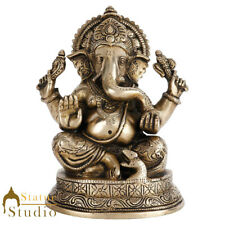 "Antique Ganesha Statue Brass Finish Ganpati Idol Temple Decor Gift Showpiece 6"""