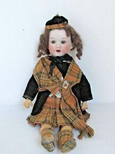 "Antique Marseille Bisque 14"" Doll Original Clothes & Wig 390 Comp & Wood Body"