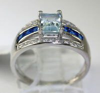 Sterling Silver Emerald Cut Blue Topaz Cubic Zirconia Accent Ring Size 7