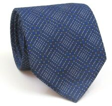 """Thomas Pink Tie Mens Silk Tie Blue And White Geometric 59"""" Long 3..5"""" Wide"""