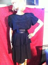 WONDERFUL 80S BLACK SILKY PEPLUM DRESS. SZ 12-14.
