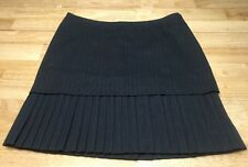 Mac & Jac Tiered Pleated Casual Dress Skirt Size 10 Blue Herringbone Pinstripe