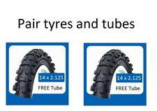 14 x 2.125 Black bicycle tyres + tubes mountain bike child cycle Pair 14 inch