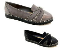 New Women Lady Flat Studded Loafers Slip on Pumps Pearl Diamante Suede Shoes