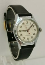 Vintage 1940s Moeris Military Style Wrist Gents Watch Red Second Hand 10½ Cal