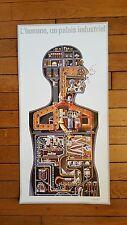Fritz Kahn Affiche Publi. Vintage Sandoz 70' Écorché Corps humain