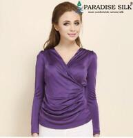 100% Silk Knit Women's Long Sleeve Overlapping V Neck Vest Top Blouse