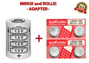 Adapter + 4 LR43 Für MINOX 35(EL, GL, GT, PL, PE, AL) Und (C,EC,ECX,LX,TLX)