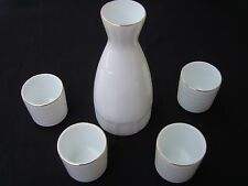 White with Gold Tone Rim White Glazed Porcelain Sake Decanter and Cups Set