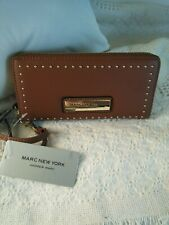 Wilsons Leather Womens Marc New York Studded Zip Around Fauxleather Wallet NEW
