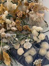 Large Lot Vintage Floral Stems New Old Stock Craft Flower Picks in White & Gold