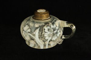 NORTHWOOD DAFFODILS PRIMROSE GLASS BLOWN WHITE OPALESCENT FINGER OIL LAMP EAPG