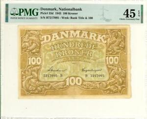 Denmark 100 Kroner Currency Banknote 1943  PMG 45 CHOICE XF EPQ