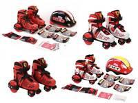 Ferrari Combo Set Skates Boys Girls Junior Quad Roller Skates Adjustable Sizes