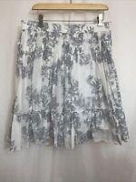 Gap Cotton/Silk Skirt Women's M Stretch Elastic Waist Ruffle Hem Floral Lined