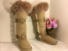 Australia Luxe Collective Tsar Tall Fox Fur Sheepskin Boots size 6 beige #1989