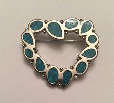 Vtg Trifari Pin Brooch Turquoise Stone Enamel Mosaic Heart Shaped