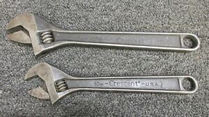 "2 Crescent Crestoloy 10"" 1-1/8"" 12"" 1-5/16"" Adjustable Wrench Nut Bolt Tool USA"