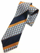 Vintage Necktie Wide Neck Tie Paisley Jacquard Intricate Weave Boho Blue Orange