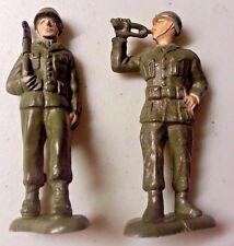 2 BERGEN Toys WW1 54MM Soldiers  BUGLER & MARCHER - 1950'S Painted Plastic !!!