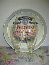 Lot Publicitaire NASTRO AZZURRO PLATEAU + 2 VERRES A BIERE BIRRA Valentino Rossi
