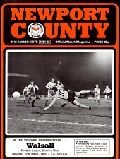 Newport County v Walsall programme, Division 3, March 1982