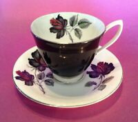Royal Albert Masquerade Pedestal Cup And Saucer  - Black And Red Roses - England