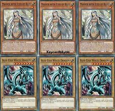 YUGIOH 3 BLUE-EYES WHITE DRAGON LED3 & 3 MAIDEN WITH EYES OF BLUE COMMONS