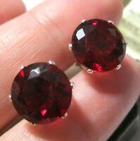 Beautiful Solid Sterling Silver Large Garnet Red Crystal 11 mm Stud EARRINGS NEW